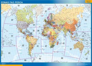 Mapamundi Fao Areas Pesca magnético enmarcado para imanes